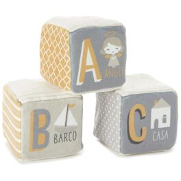 Spanish Words Stuffed Rattle Baby Blocks, Set of 3, , large