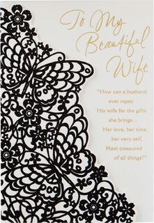 Butterfly Lace Mother's Day Card From Husband,