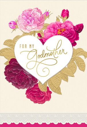 Beauty and Love Valentine's Day Card for Godmother