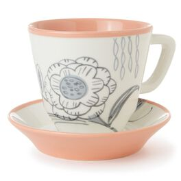 Floral Teacup and Saucer Set, , large