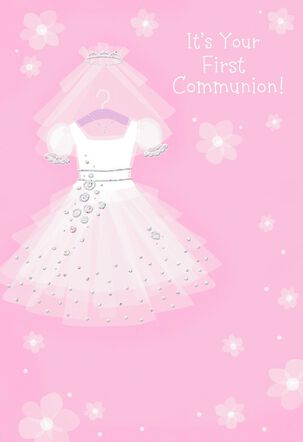 White Dress With Veil First Communion Card