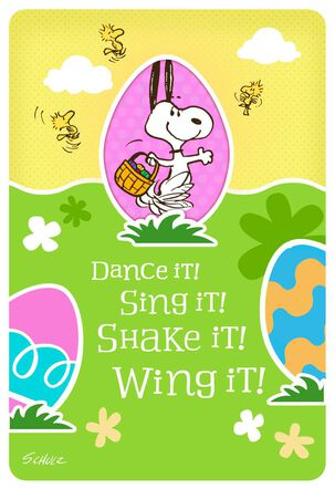 Peanuts® Dancing Snoopy and Woodstock Kid's Easter Card With Stickers