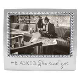 He Asked Silver Aluminum Engagement Photo Frame, 4x6, , large