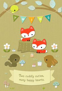 Woodland Animals New Twins Baby Card,