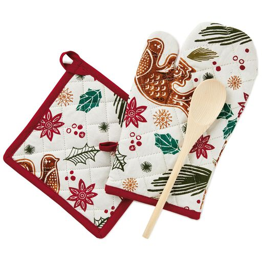 gingerbread cookie print baking gift set 3 pieces