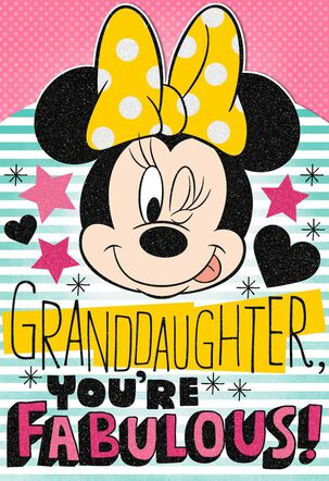 Minnie Mouse Birthday Card With Sticker Sheet for Granddaughter