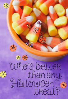 Bowl of Candy Corn Halloween Card for Her,