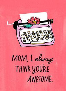 Pink Typewriter Mother's Day Card,