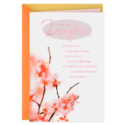 Spring Blossoms Religious Easter Card For Daughter