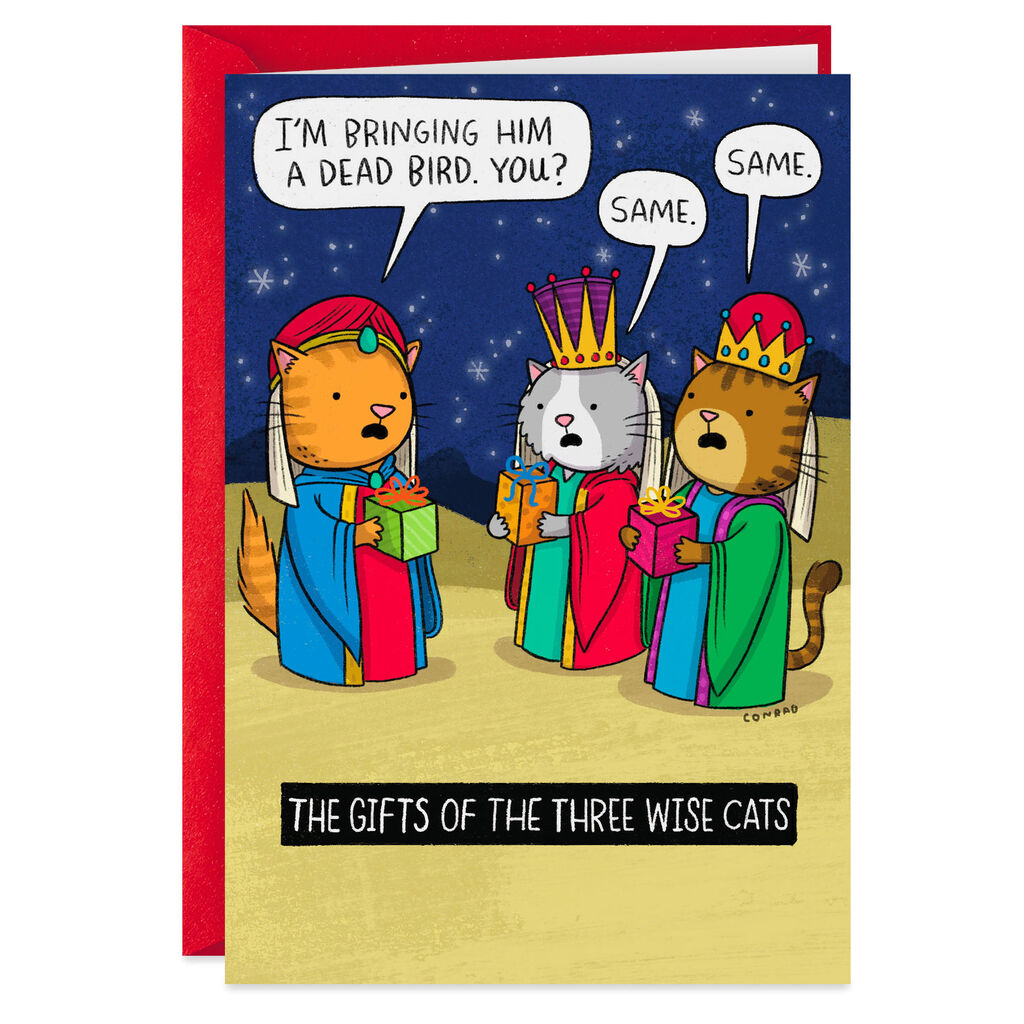 Funny Christmas.The Three Wise Cats Funny Christmas Card