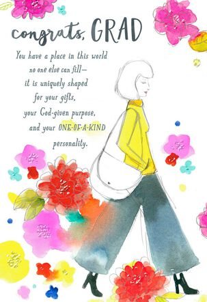 You Are One-of-a-Kind Religious Graduation Card for Female