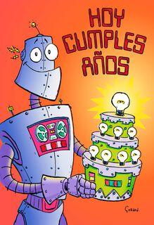 Robot Cake Spanish-Language Birthday Card for Child,