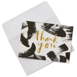 Black Brush Strokes Thank You Notes, Box of 10, , large