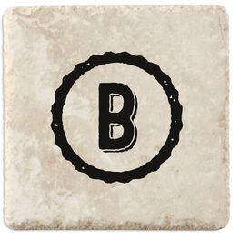 Single Monogram Home As Brand Personalized Tumbled Stone Coasters, Set of 4, , large