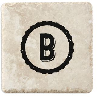 Single Monogram Home As Brand Personalized Tumbled Stone Coasters, Set of 4,
