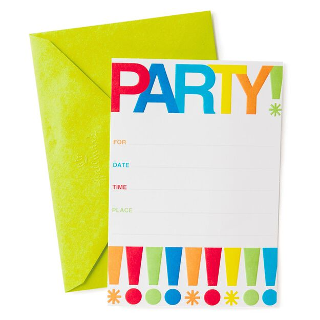 Exclamation Points Party Invitations Pack of 10 Invitations – Packs of Party Invitations