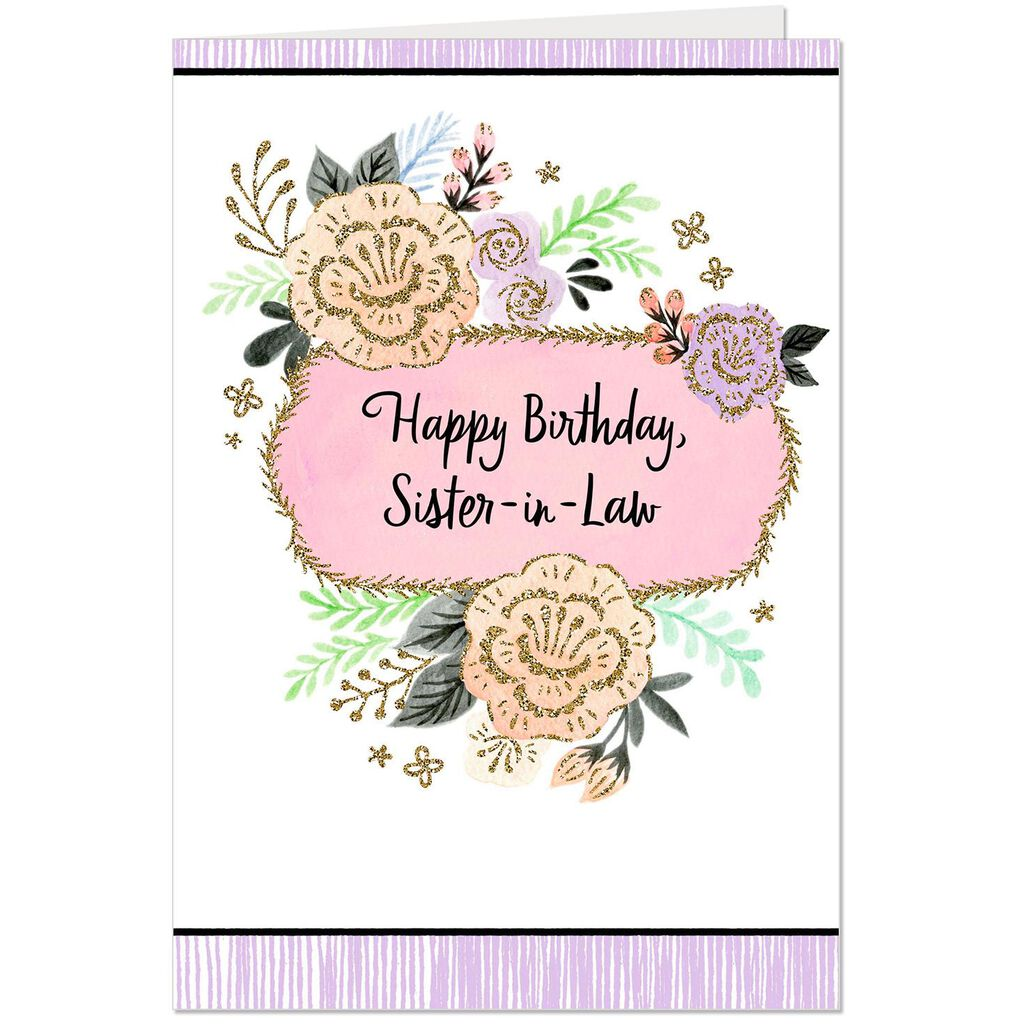 Glittery Flowers Birthday Card For Sister In Law