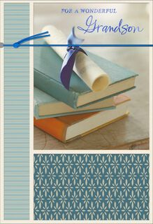 Stack of Books Graduation Card for Grandson,