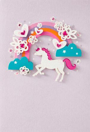 Rainbow Unicorn French-Language Birthday Card