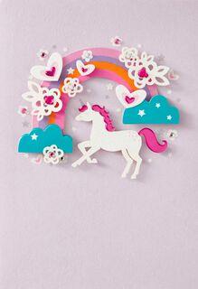 Rainbow Unicorn French-Language Birthday Card,