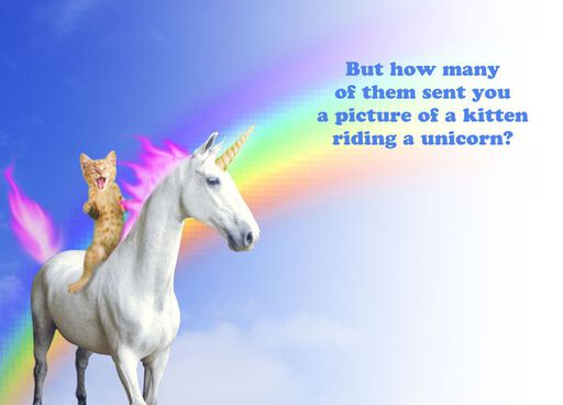 Kitten Riding a Unicorn Funny 21st Birthday Card,