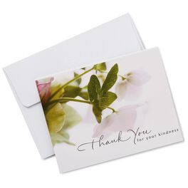 White Floral Sympathy Thank You Notes, Box of 20, , large