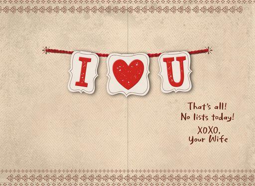 I Heart U Banner Valentines Day Card For Husband