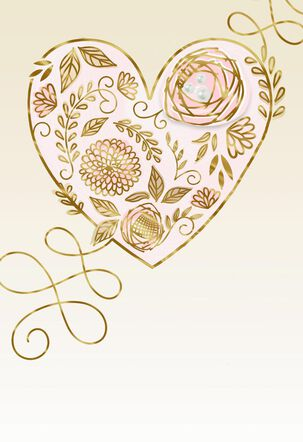 Gold Foil Floral Heart Blank Thinking of You Card