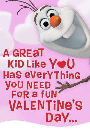 Disney Frozen Olaf Warm Hugs Valentine's Day Card