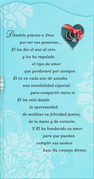 A Love So Blessed Spanish-Language Religious Wedding Card
