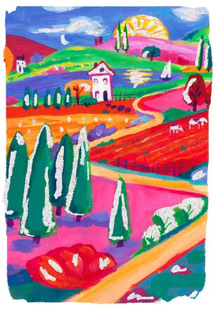 Colorful Countryside Blank Just Because Card