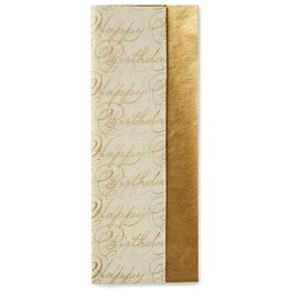 Gold Metallic and Happy Birthday Print 2-Pack Tissue Paper, 6 sheets, , large