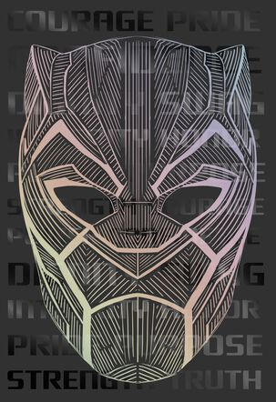 Black Panther Hero Mask Birthday Card
