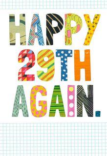 Happy 29th Birthday Again Funny Birthday Card,
