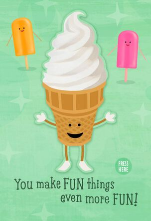 Dancing Ice Cream Cone Musical Birthday Card