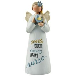 Nurse Angel With Bird Figurine, , large