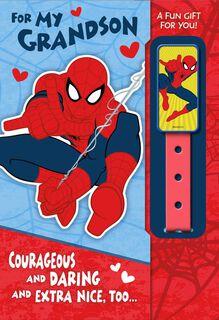 Spider-Man Grandson Hero Valentine's Day Card With Wristband,