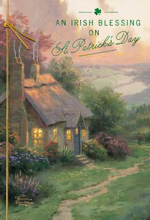 Thomas Kinkade Make a Wish Cottage St. Patrick's Day Card,