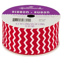 "Red and White Chevron 1.5"" Grosgrain Ribbon, , large"