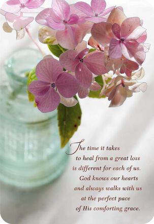 God Is With You Floral Vase Religious Sympathy Card