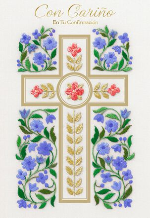 Cross With Flowers Religious Spanish-Language Confirmation Card