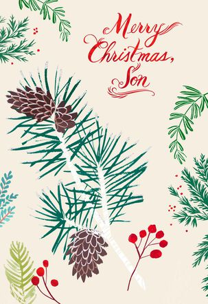 Pine Cones Christmas Card for Son