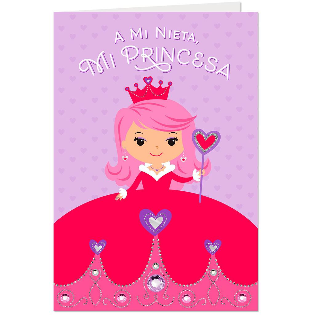 My Princess Spanish Language Birthday Card For Granddaughter With Paper Crown