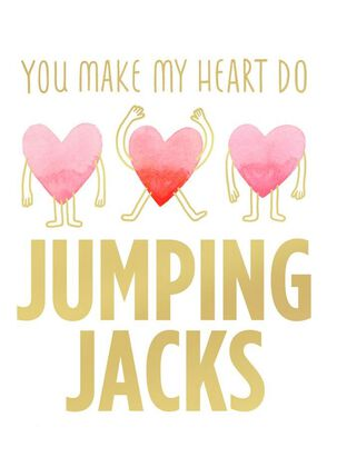 Jumping Jack Heart Blank Valentine's Day Card