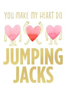 Jumping Jack Heart Blank Valentine's Day Card,