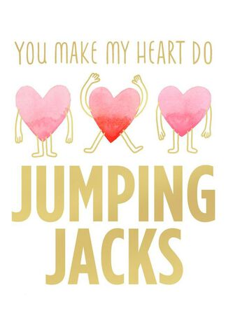 jumping jack heart blank valentine's day card - greeting cards, Ideas
