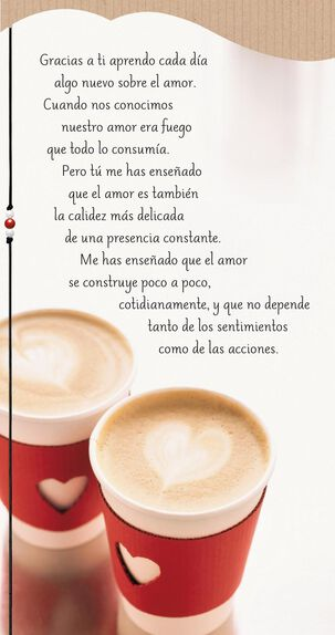 Coffee Hearts for Love Spanish Valentine's Day Card