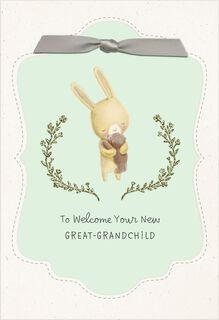 Sweet Bunny New Baby Card for Great-Grandparents,