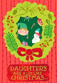 Cheerful Wreath Christmas Card With Stickers for Daughter,