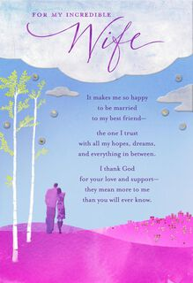 Wife I Love You Religious Birthday Card,